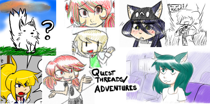 collage of various scenes from quest threads and adventures, with the text      Quest Threads / Adventures