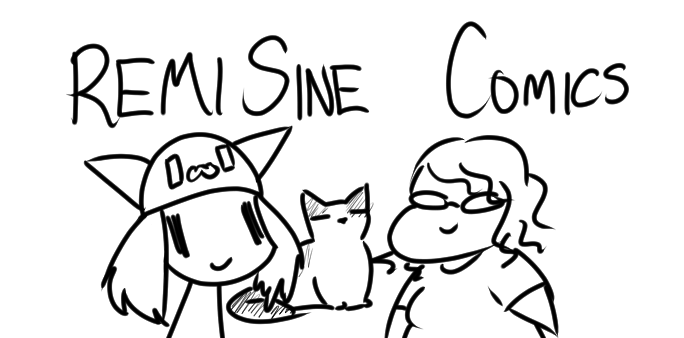 A picture of Remi, Lilly the Cat, and Sine, with the words RemiSine Comics at the top.